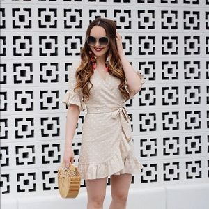 WAYF Linen Polka Dot Ruffle Wrap Dress